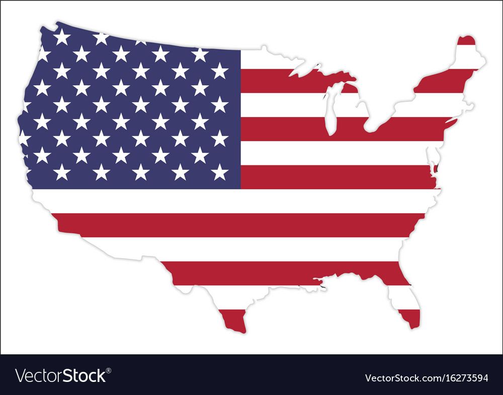 United states of america map with waving flag