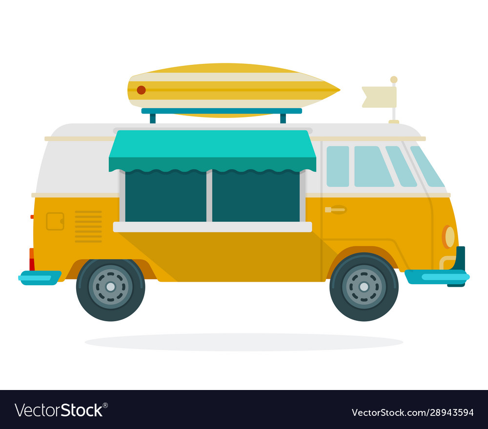 Van for travel flat material design isolated