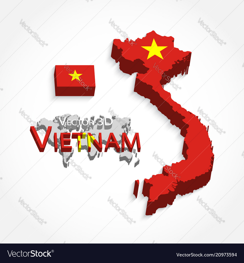 Vietnam 3d flag and map