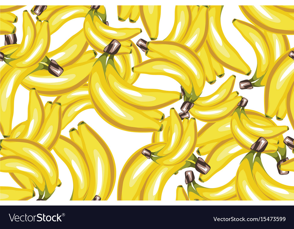 Banana seamless pattern on white vector image