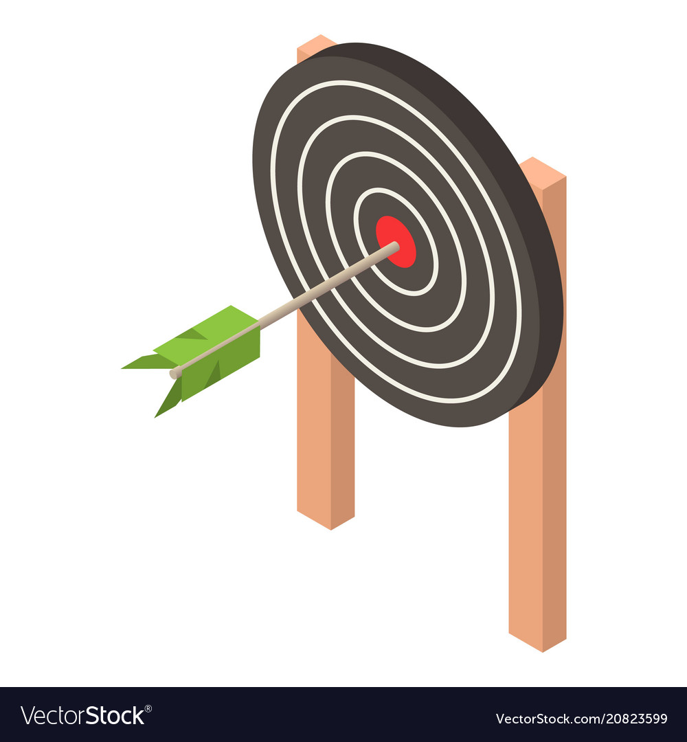 Black target icon isometric style