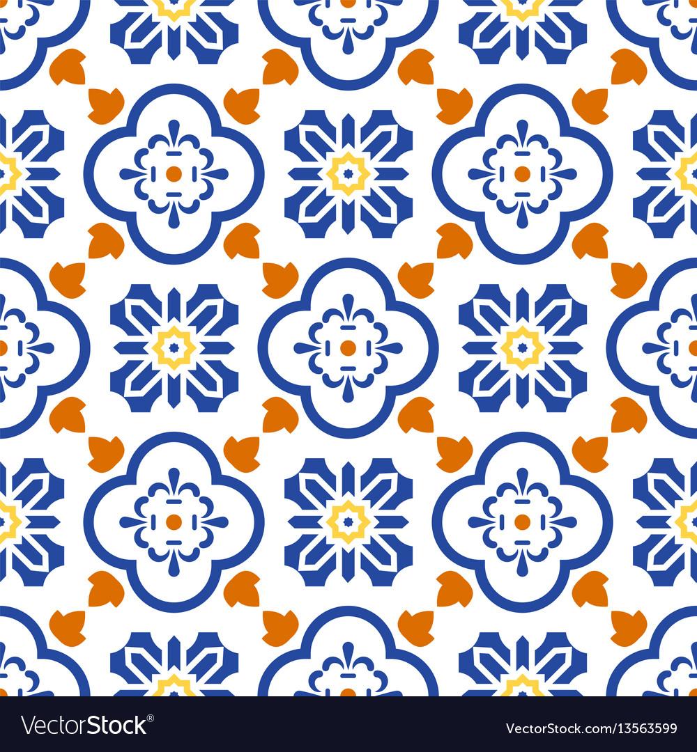 Ceramic blue and white mediterranean seamless tile
