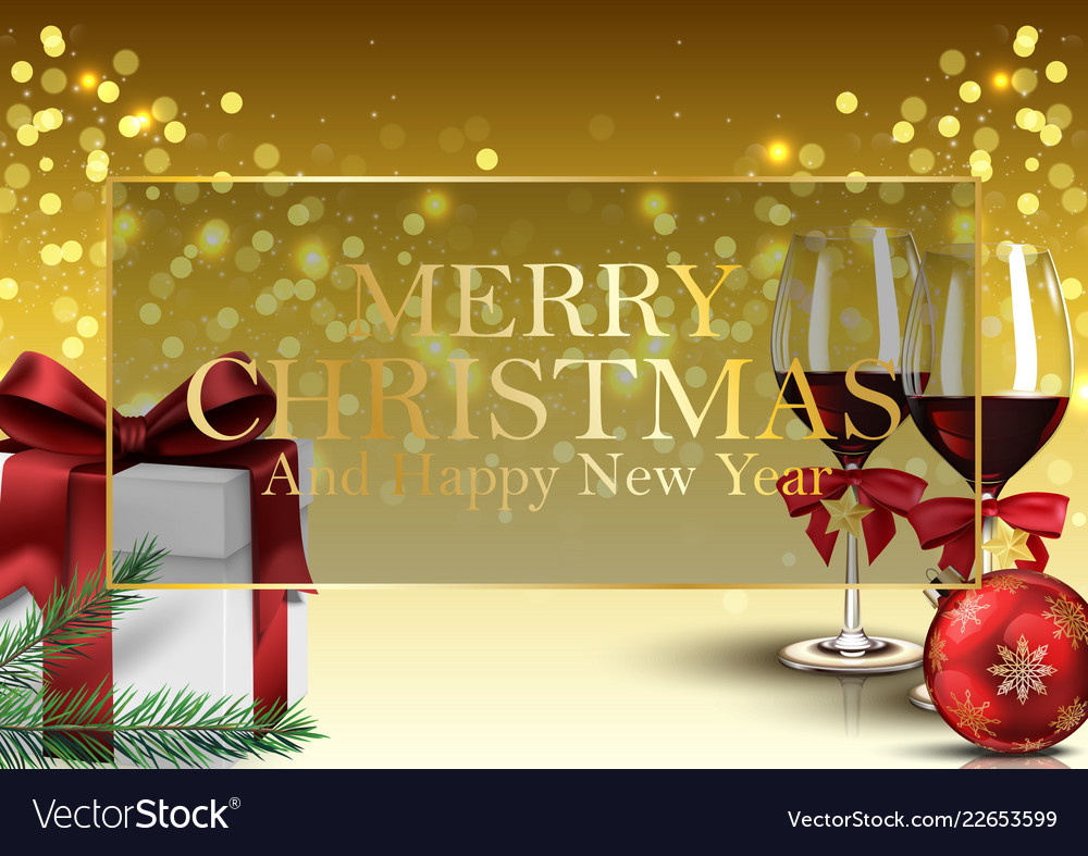 Christmas background with gifts wine glass