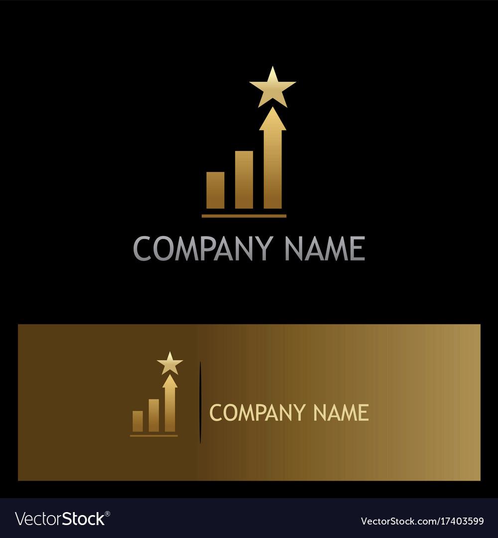 Gold star chart business finance logo vector image