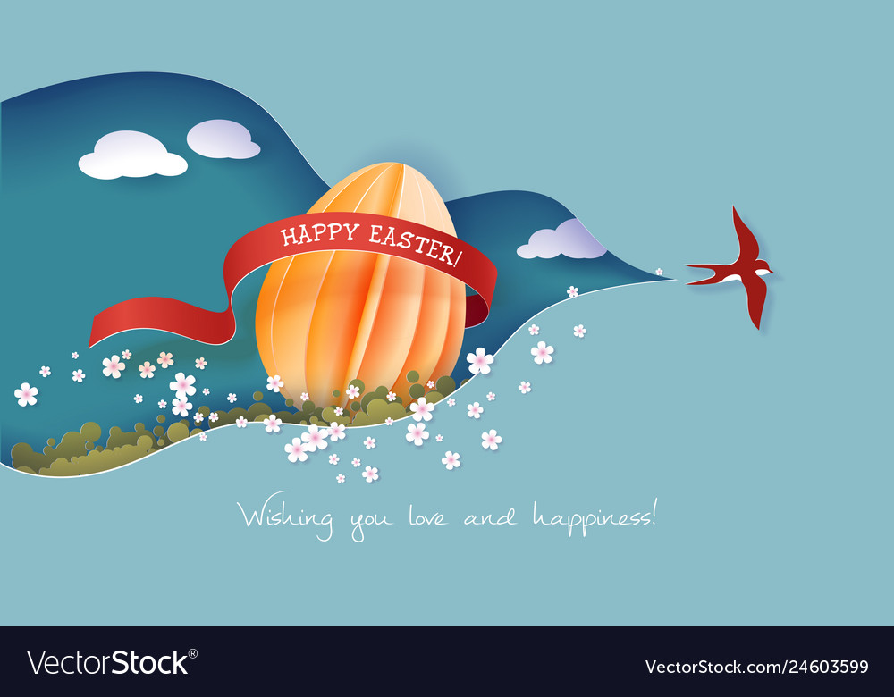 Happy easter spring paper cut 3d