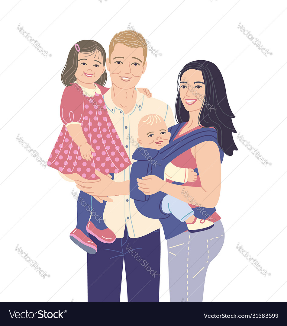 Happy young modern family with two kids