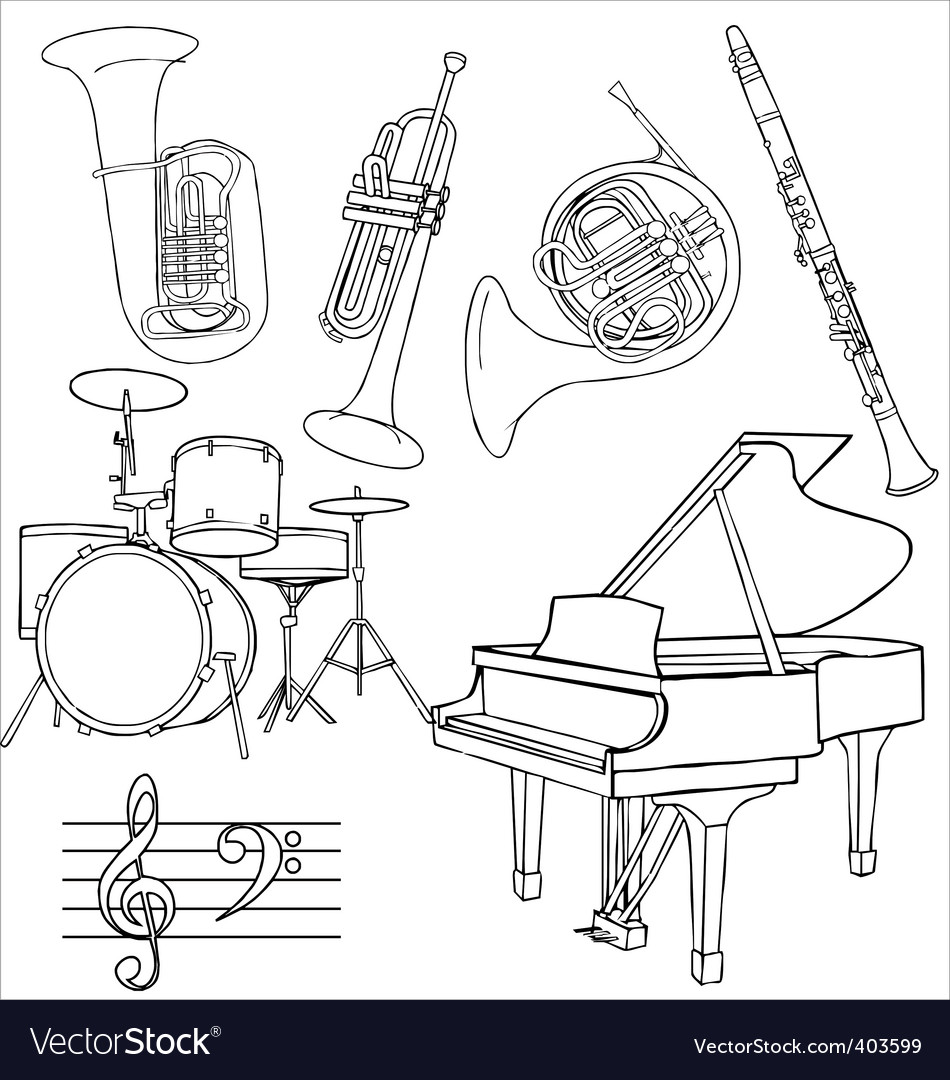 Jazz music instruments vector image