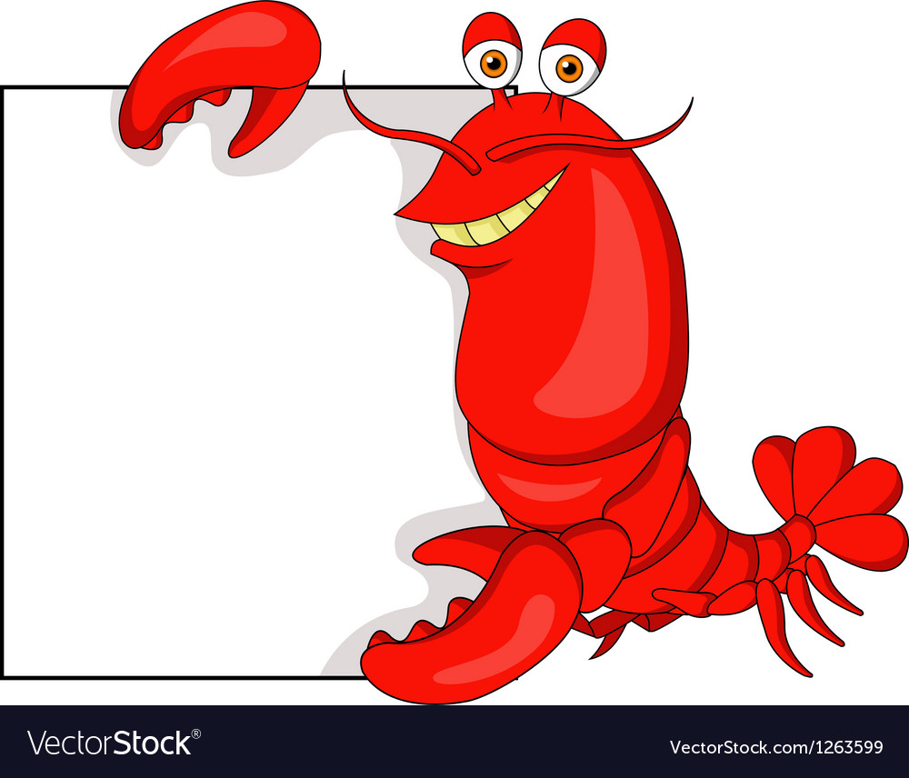 Lobster cartoon with blank sign vector image