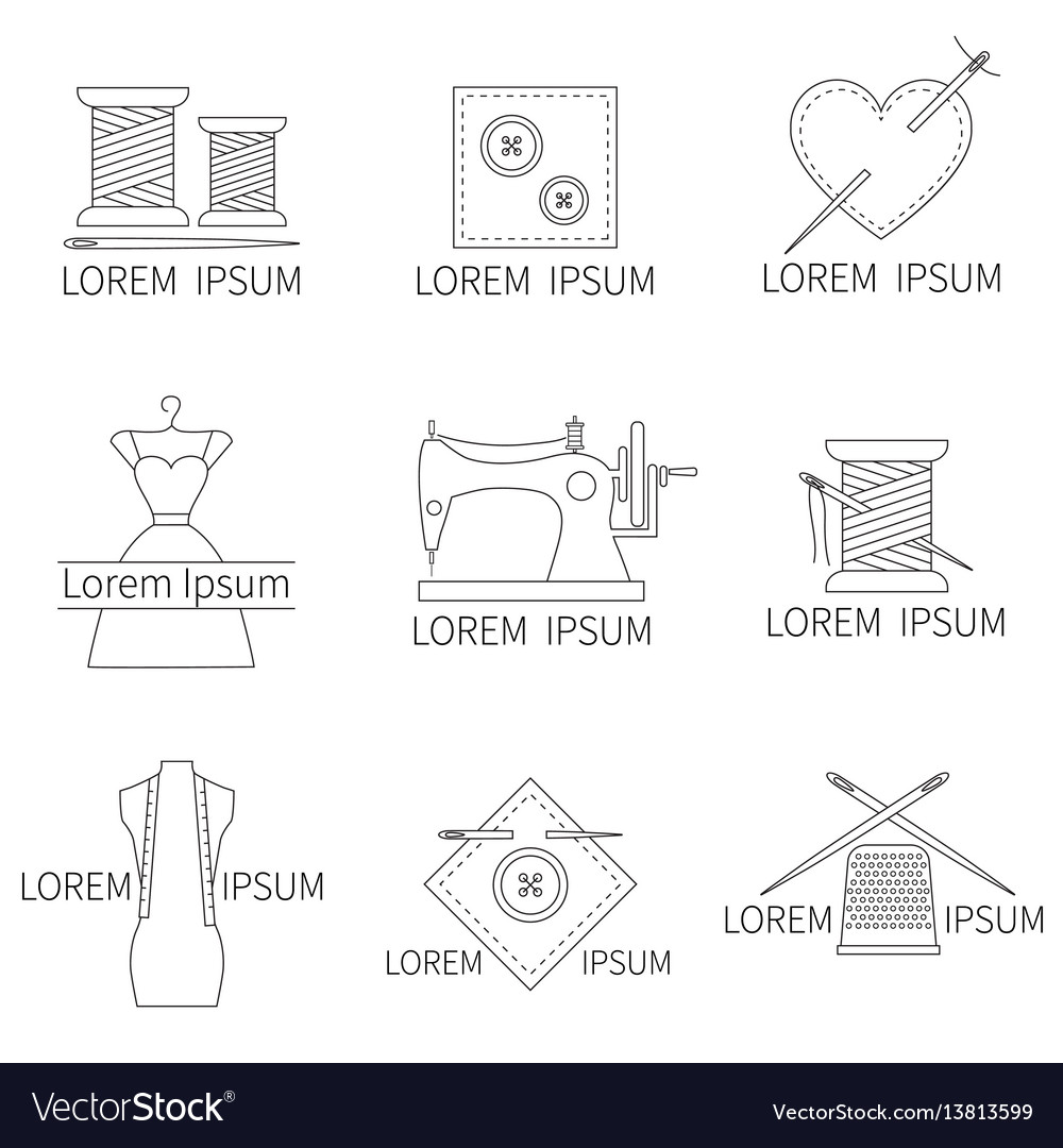 Set of sewing and needlework icons line style