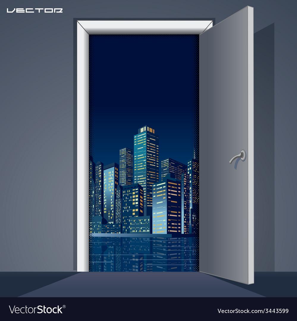 Skyline over Door vector image