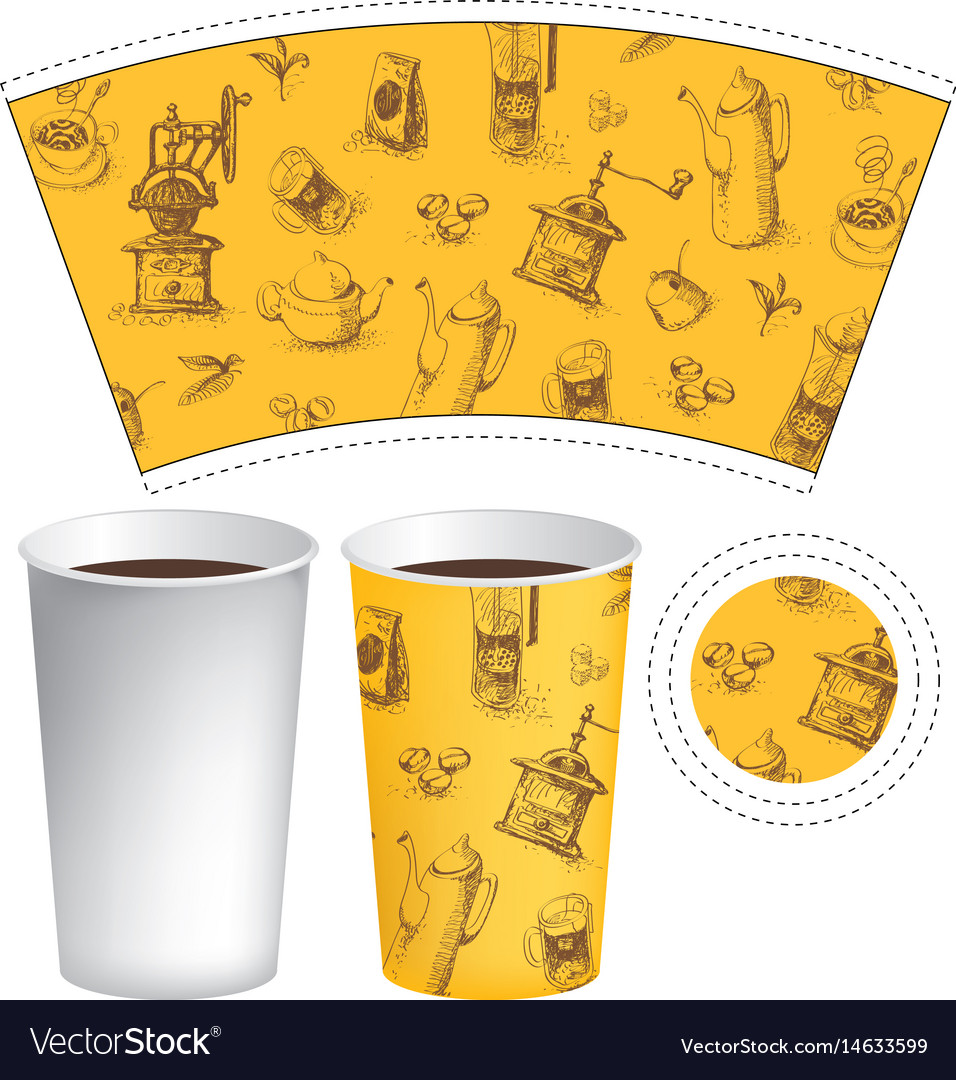 Template paper cup for hot drink