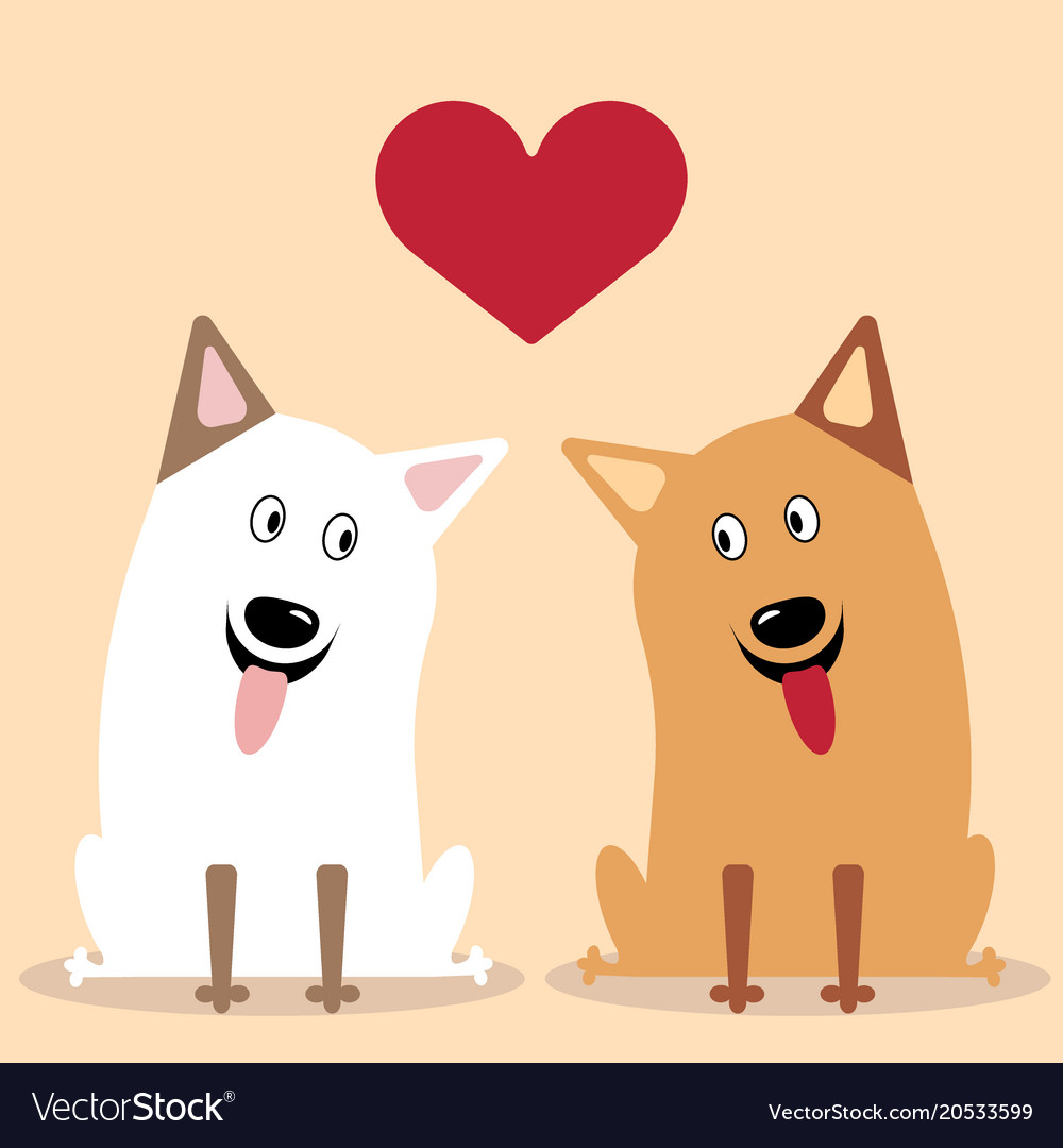 Two dogs flat icon vector image