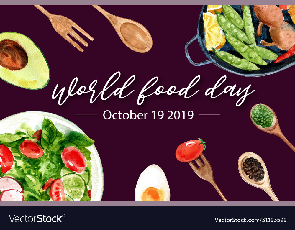 World Food Day Frame Design With Avocado Spoon Vector Image