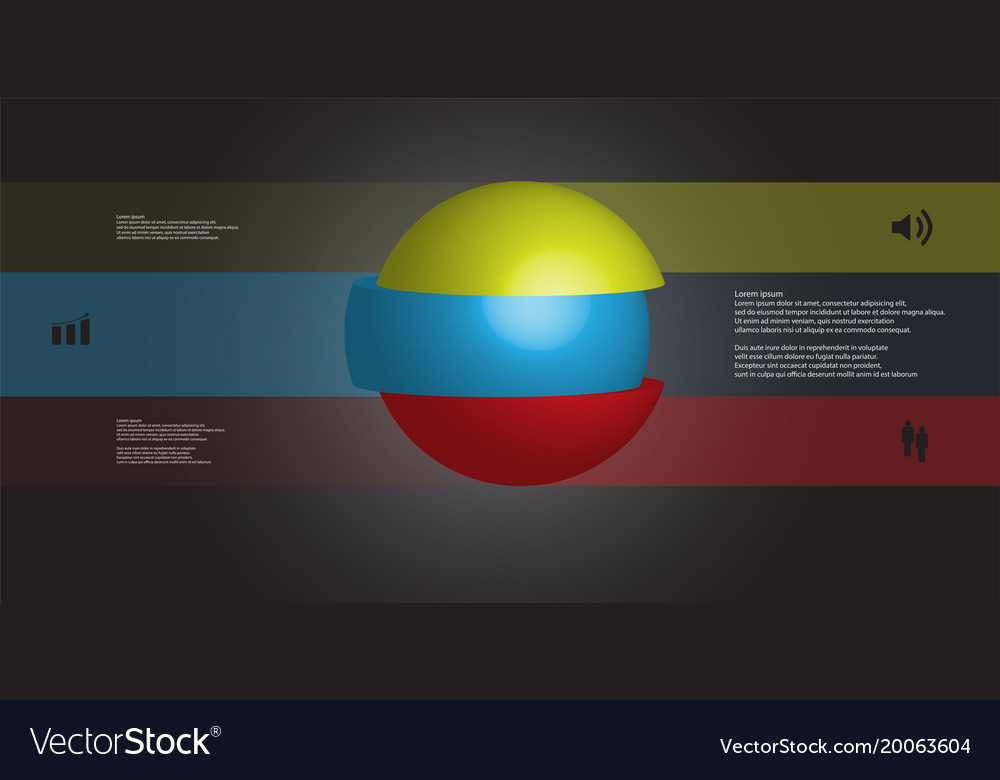 3d infographic template with ball sliced to three