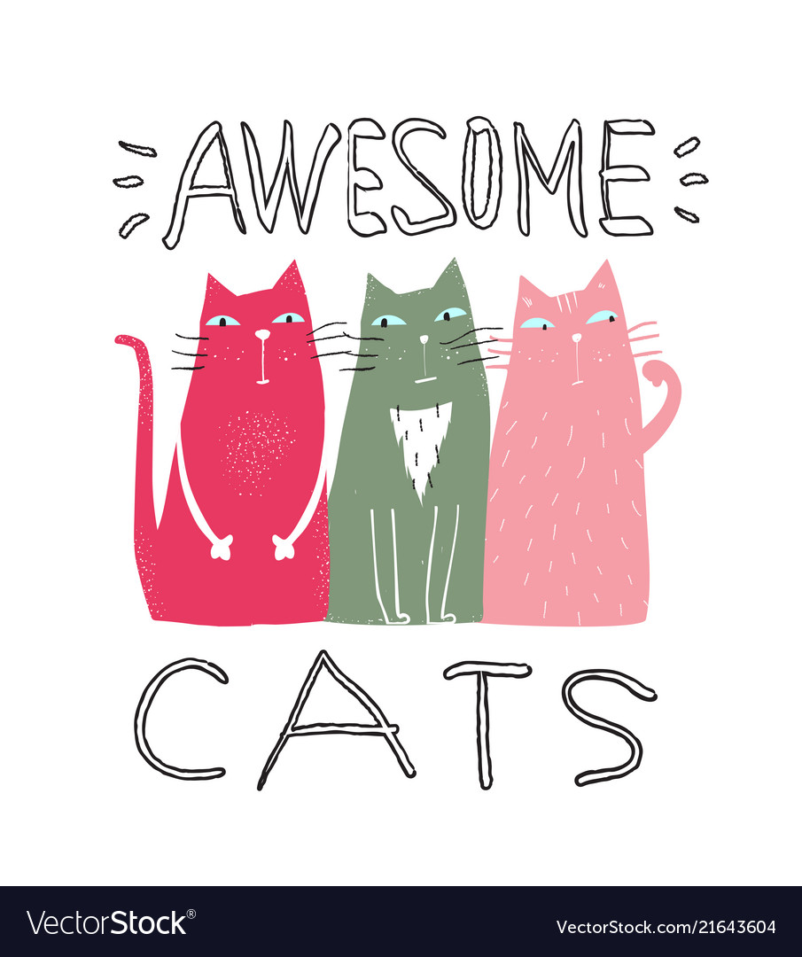 Awesome cats graphic print