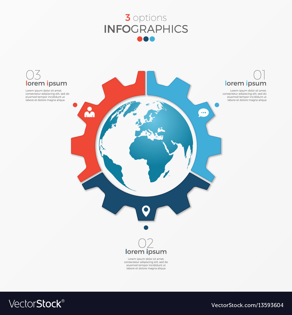 Circle chart infographic template with globe