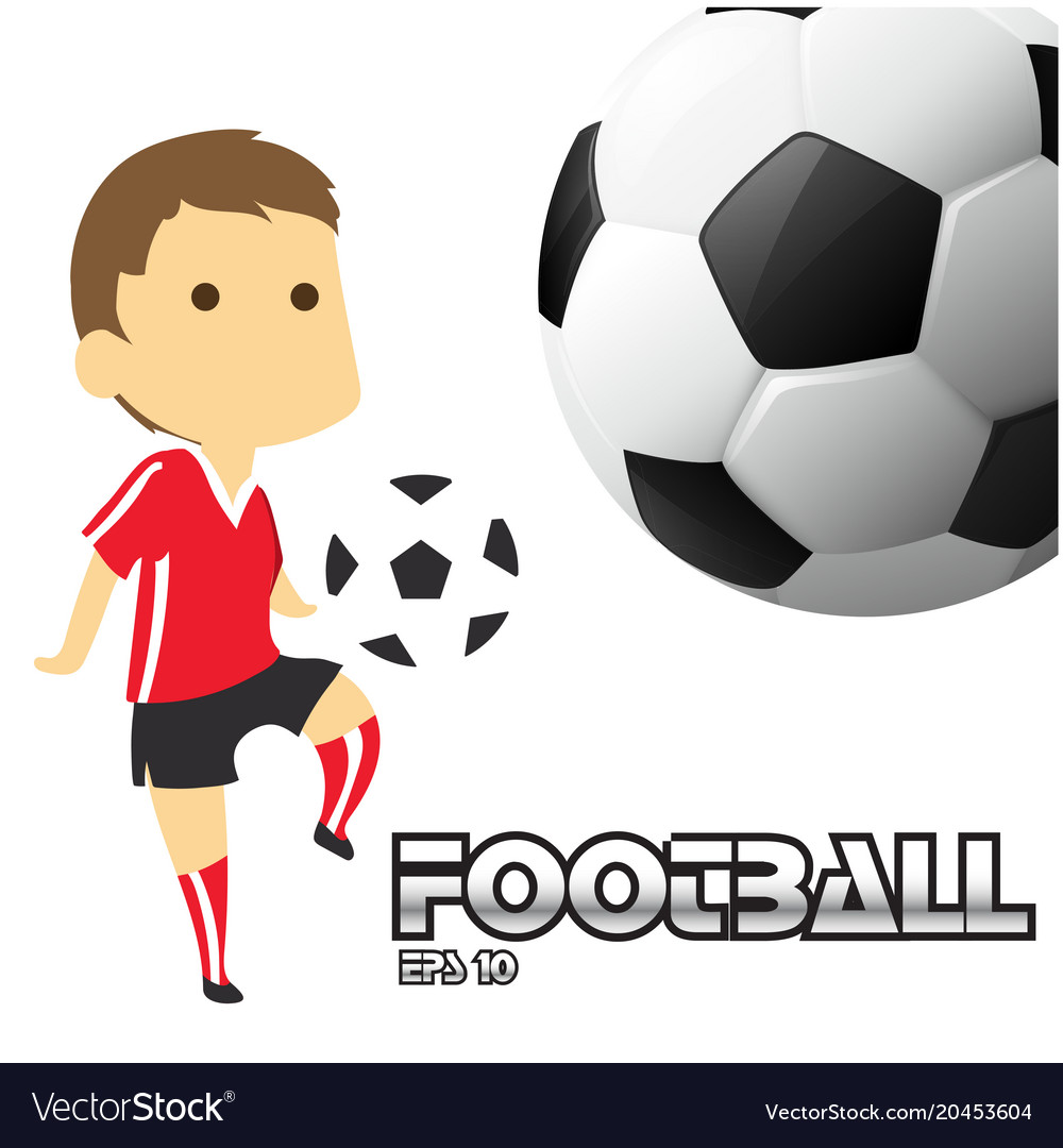 Football text boy playing football background vect