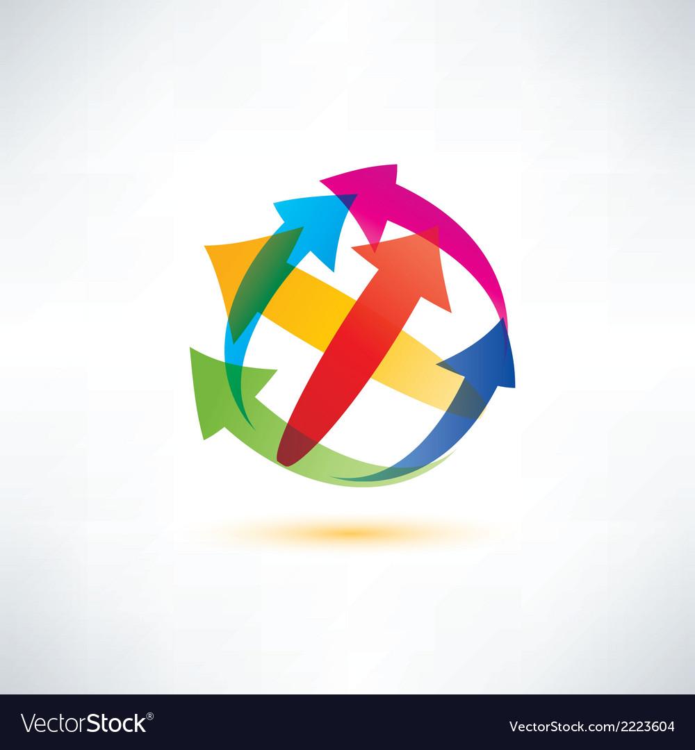 Globe arrow abstract symbol