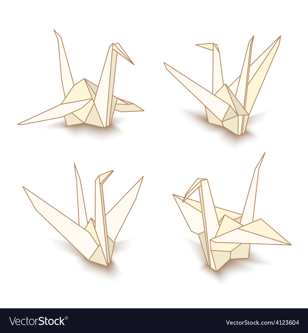 Isolated origami paper cranes