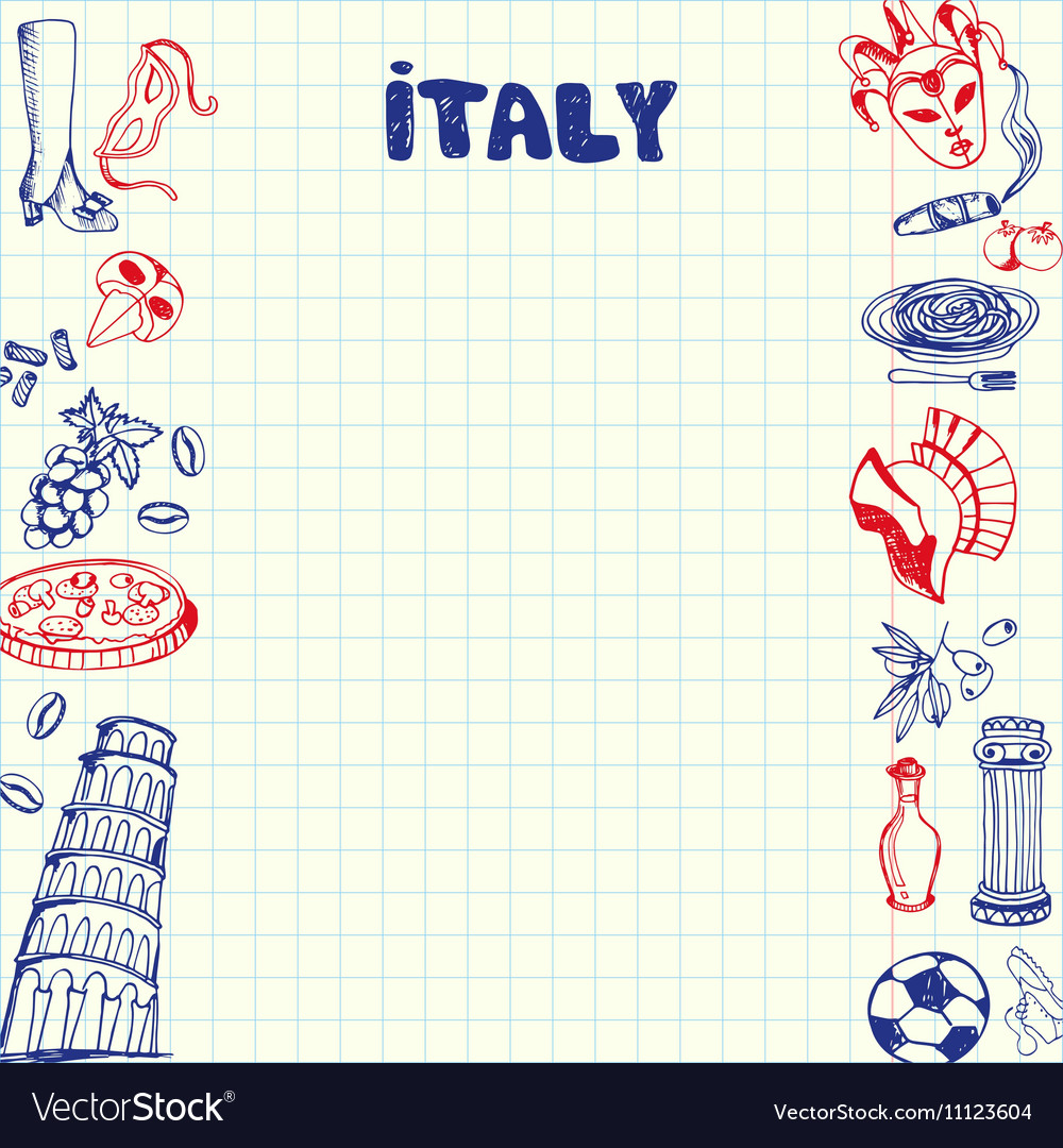 Italy Symbols Pen Drawn Doodles Collection