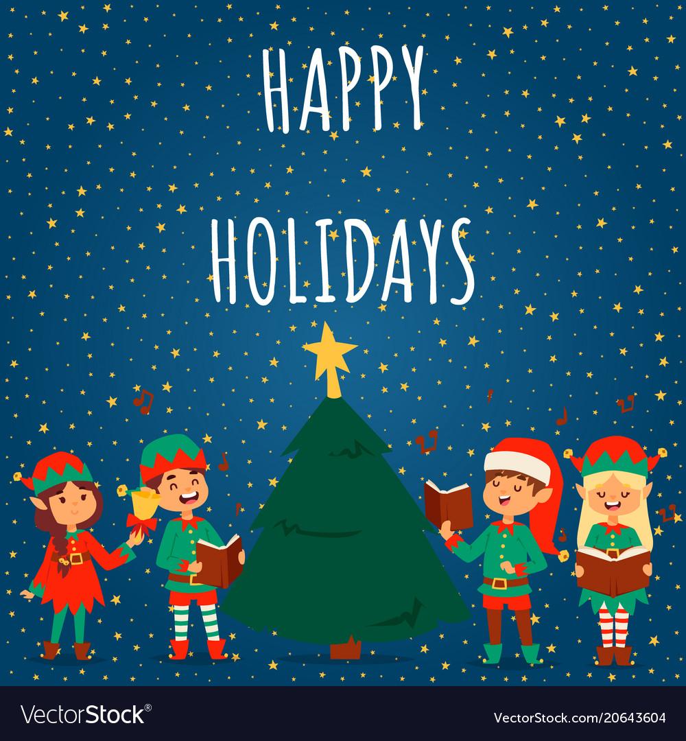Santa claus elf kids cartoon elf helpers