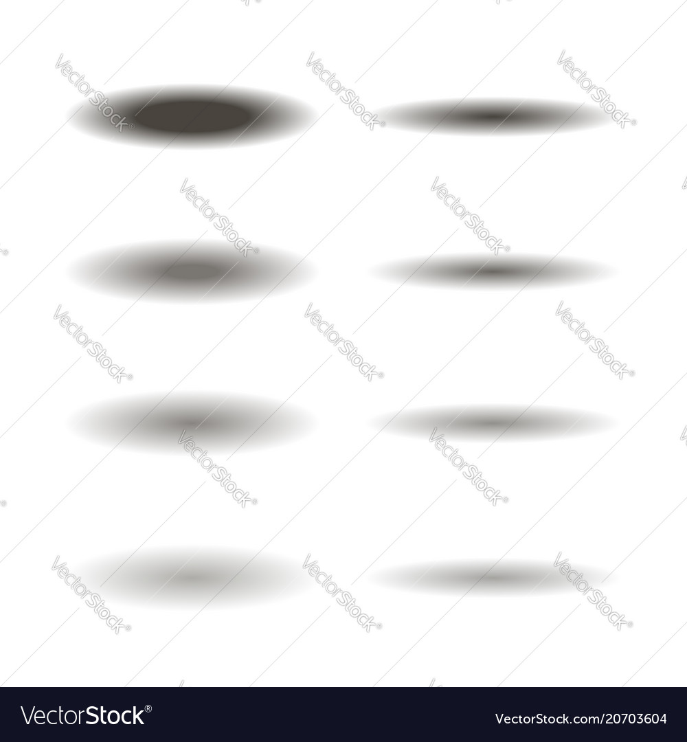 Set of different oval shadows