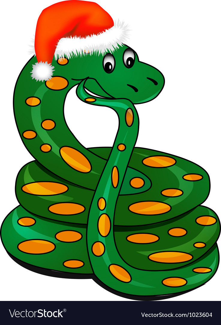 Snake in holiday new years hat vector image