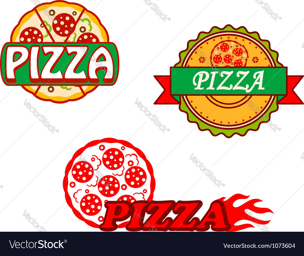 Tasty pizza banners and emblems set
