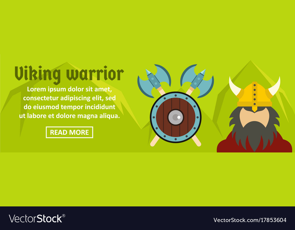 Viking warrior banner horizontal concept