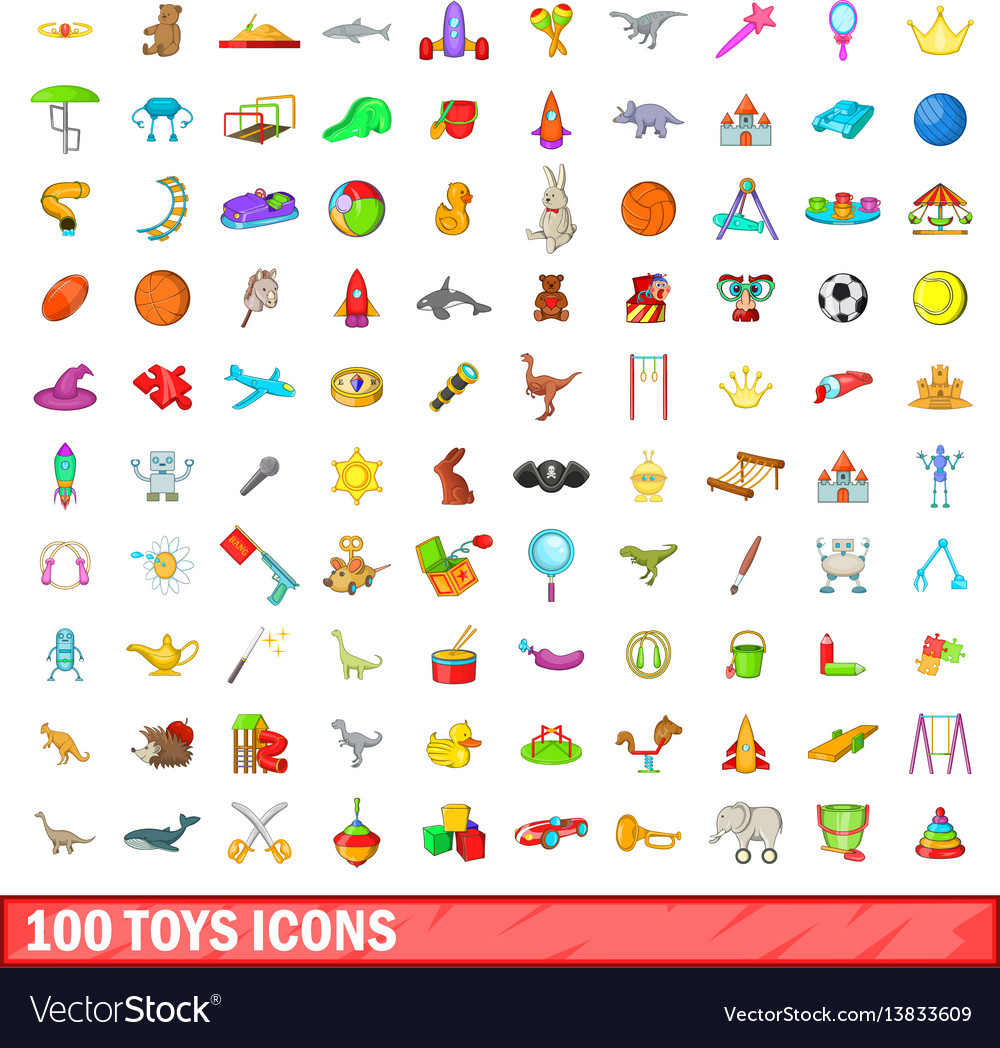 100 toys icons set cartoon style