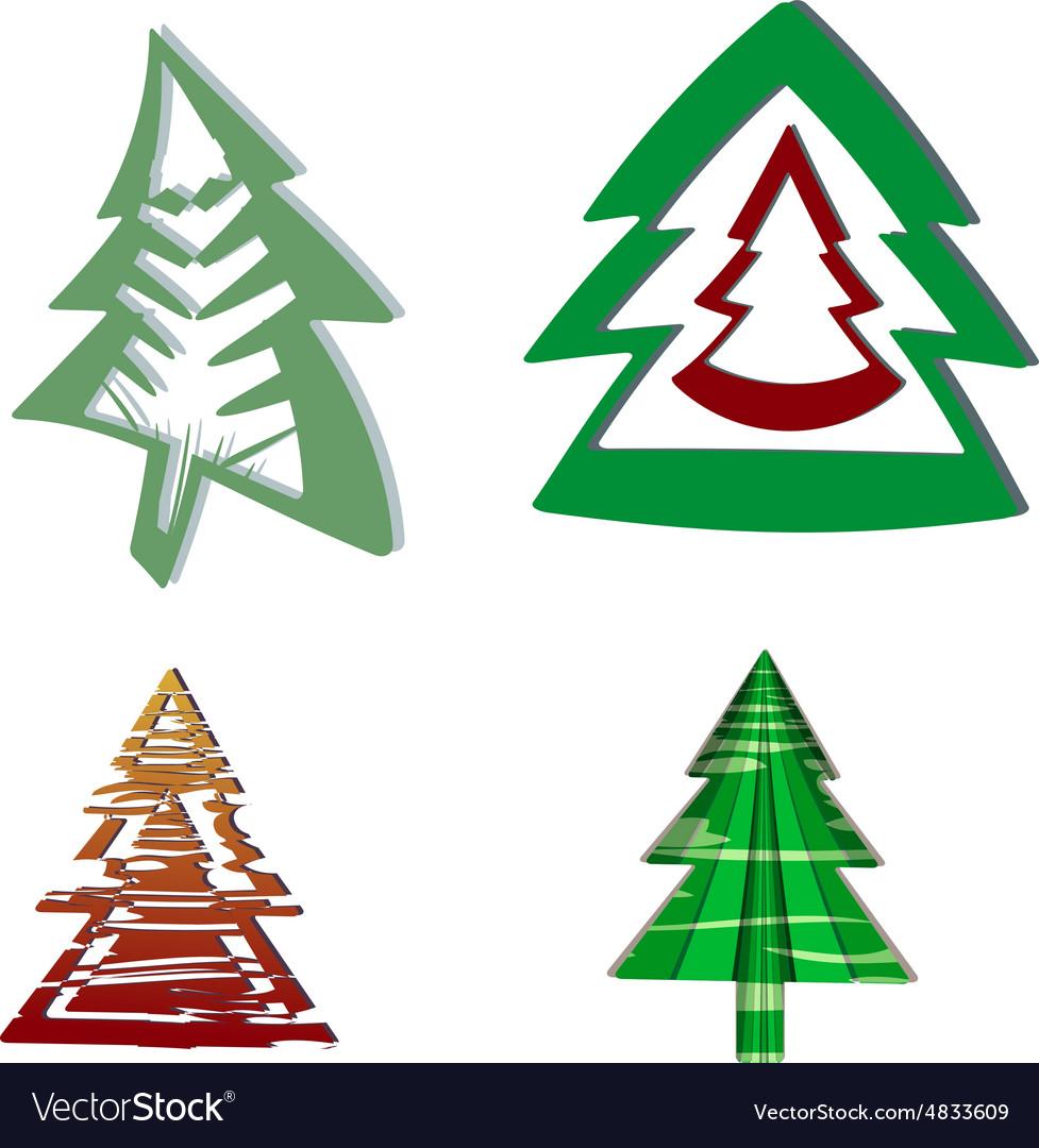 A set of Christmas trees