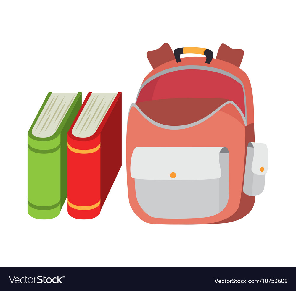 Backpack school bag and book design vector image