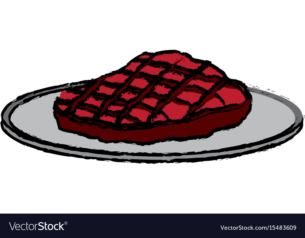 cartoon steak beef delicious with plate dinner vector image vectorstock