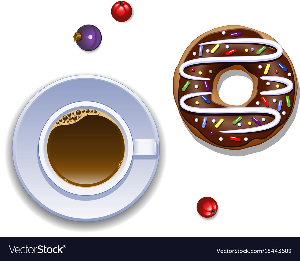 Cup of coffee and a donut