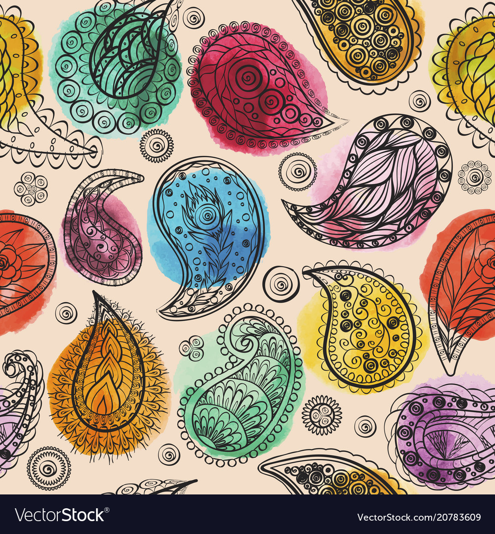 Ethnic seamless watercolor pattern hand drawing