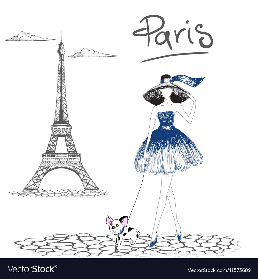 Girl walking with french bulldog in the Paris