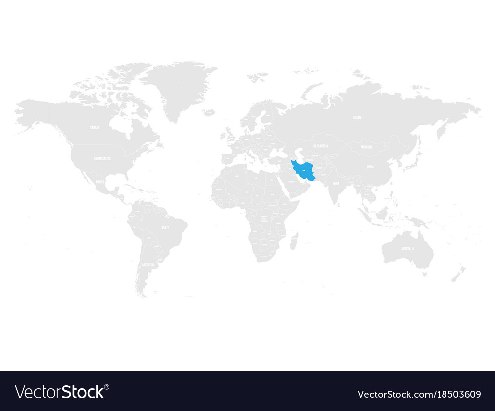 Iran marked by blue in grey world political map