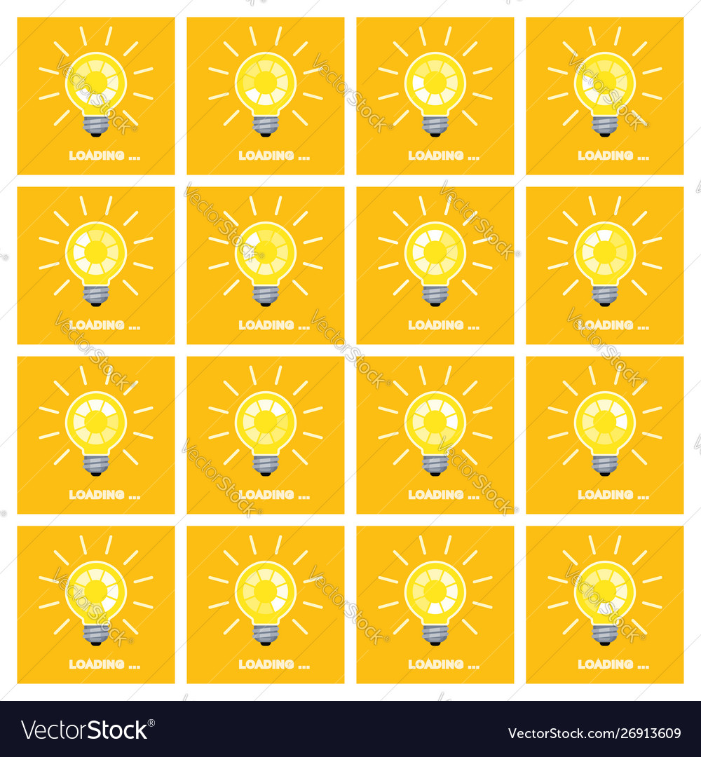 Light bulb with rotating preloader animation flat