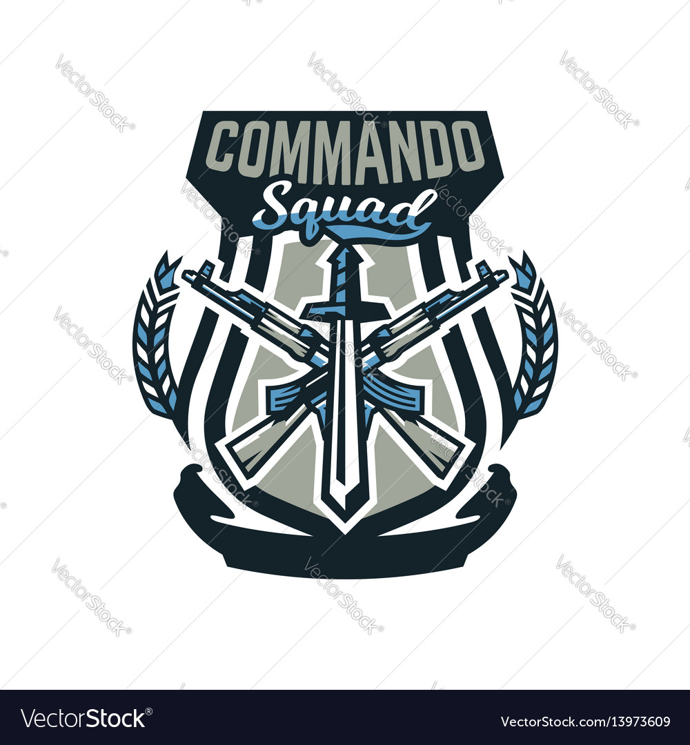 Logo emblem military weapons machine guns