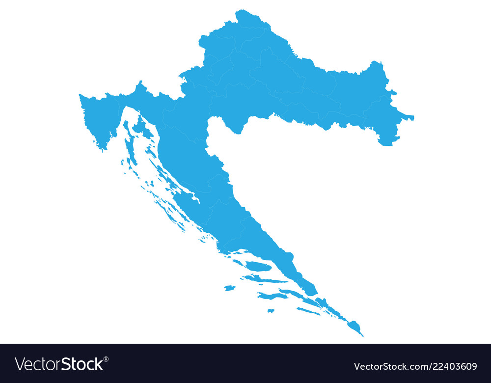 Map of croatia high detailed map - croatia Vector Image