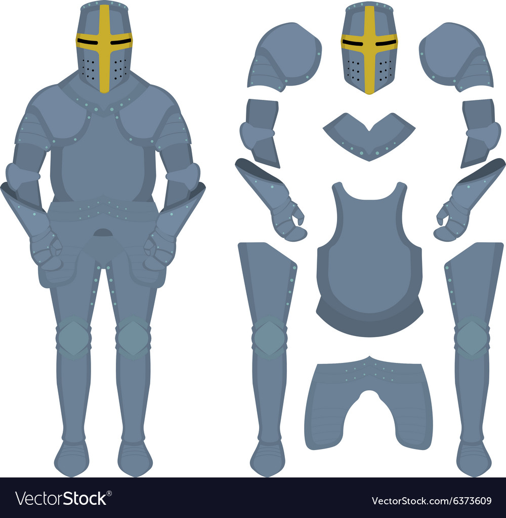 Medieval knight armor parts vector image