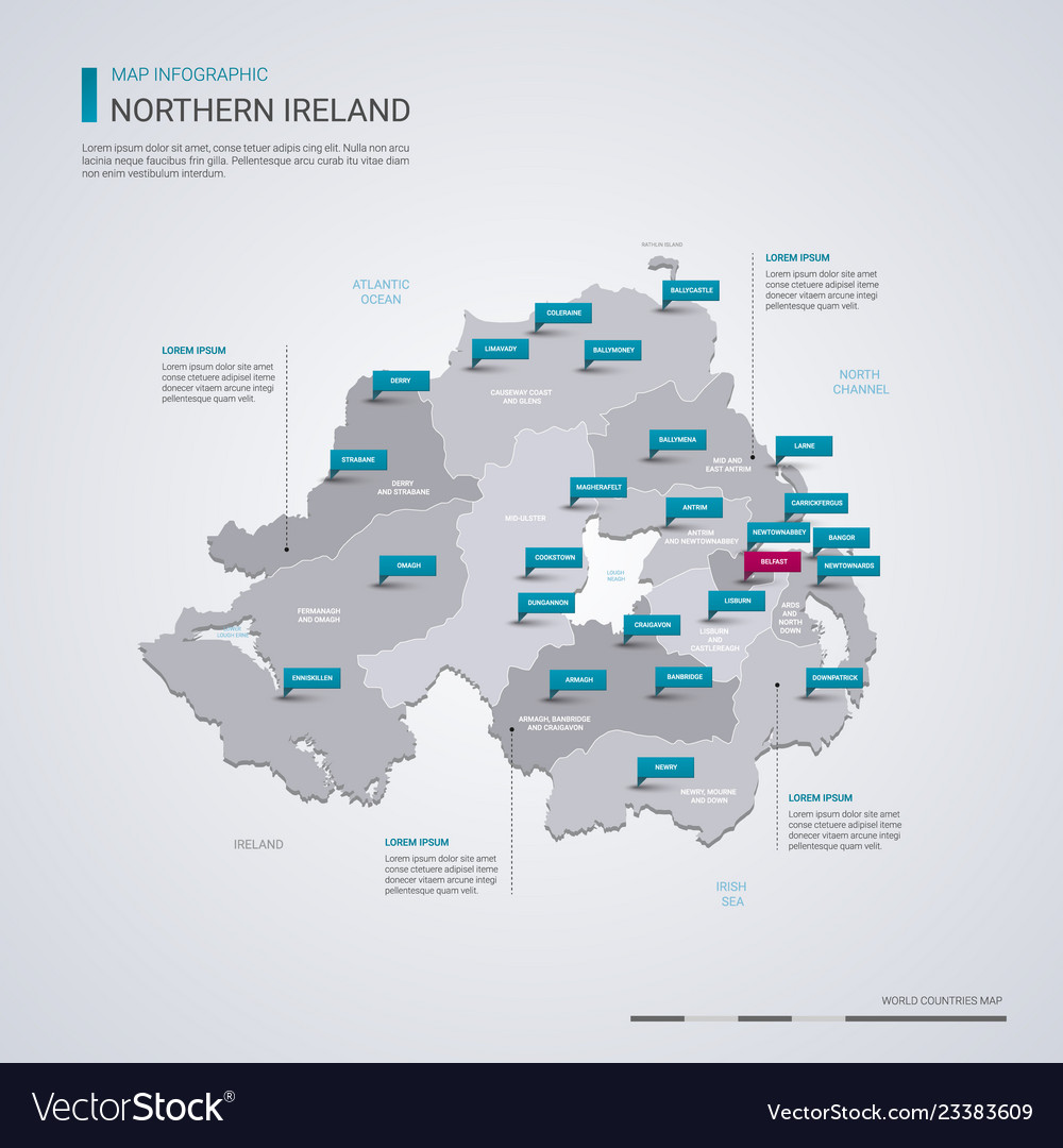 Map Of Northern Ireland And Ireland.Northern Ireland Map With Infographic Elements