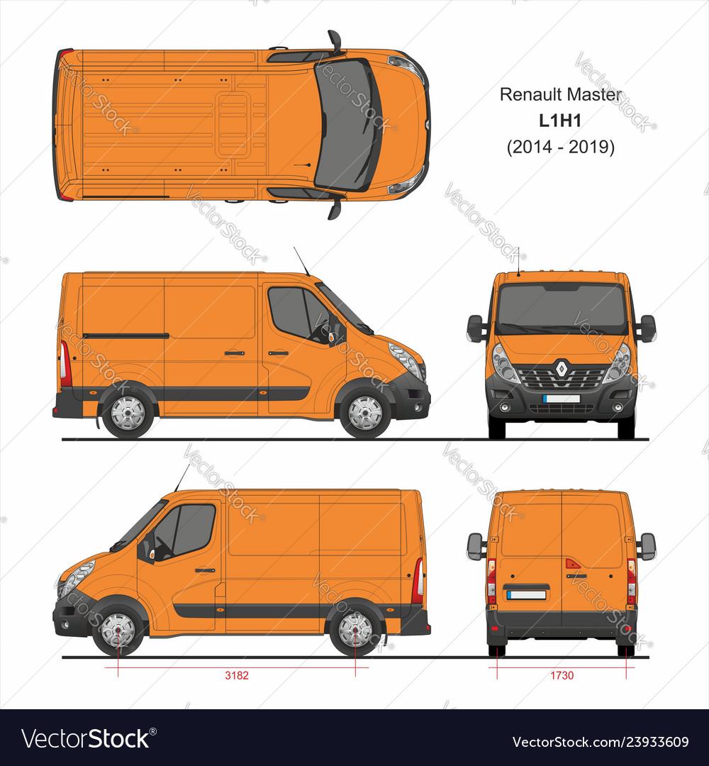 renault master cargo delivery van l1h1 2014 2019 vector image. Black Bedroom Furniture Sets. Home Design Ideas