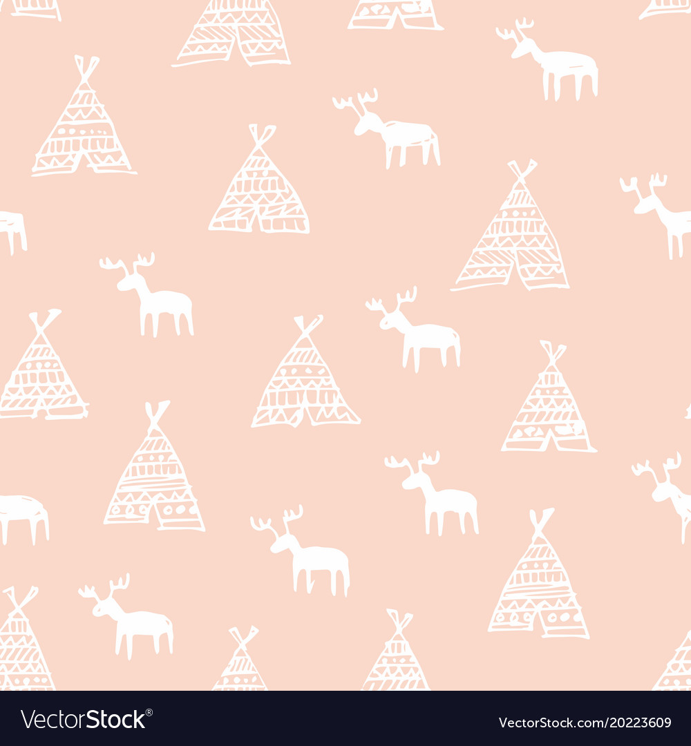 Seamless pattern with deers hand drawing