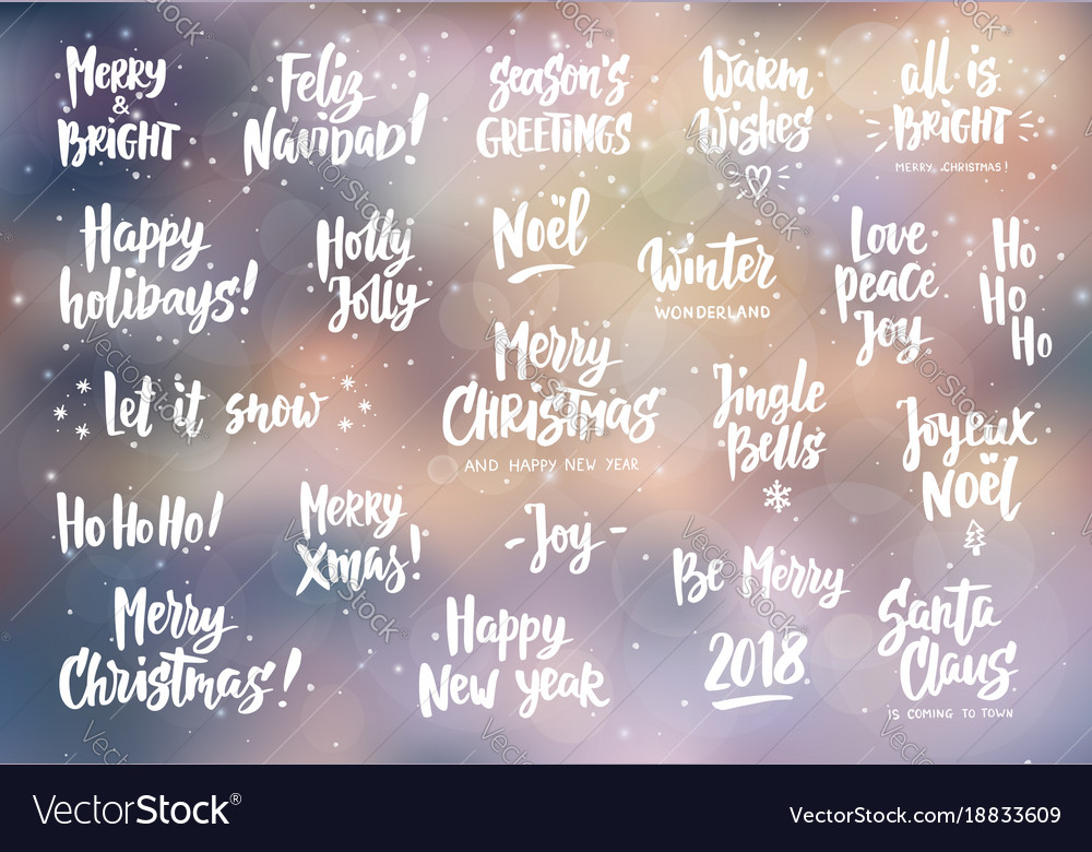 Set Of Holiday Greeting Quotes And Wishes Hand Vector Image Amazing Holiday Wishes Quotes