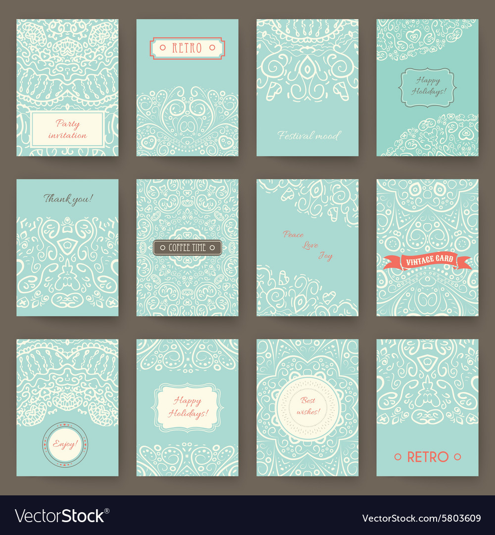 Set of perfect holiday templates with doodles