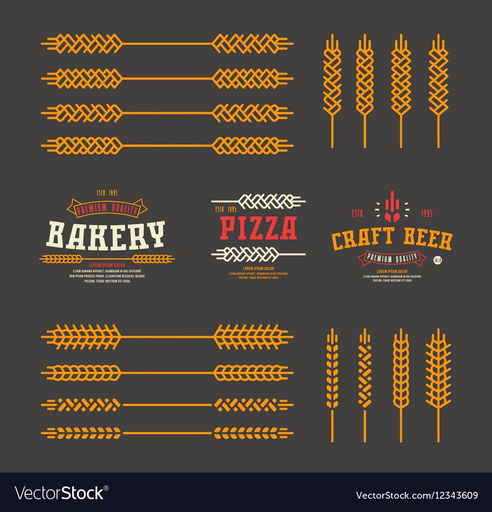 Set of stylized ear wheat Template labels