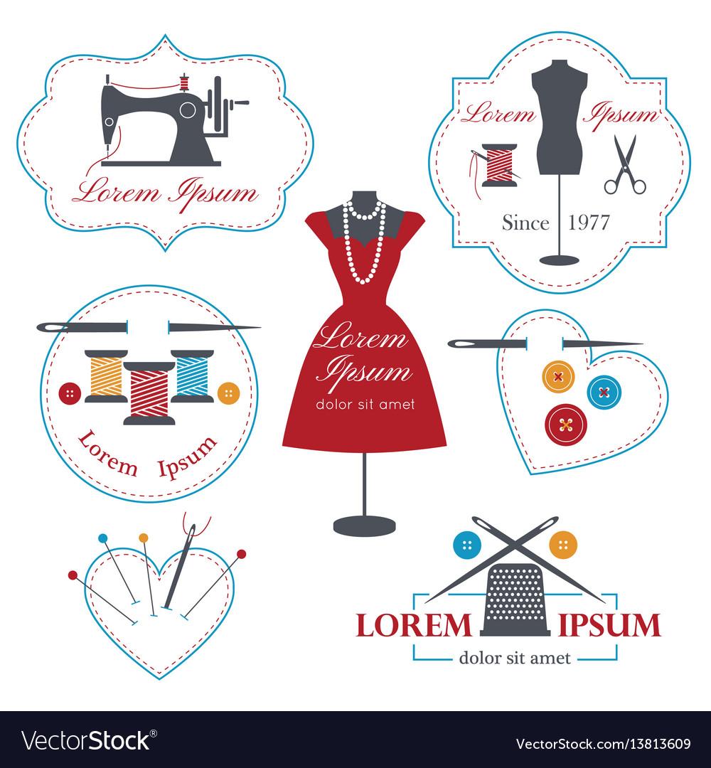 Set of tailor labels badges and emblems tailor