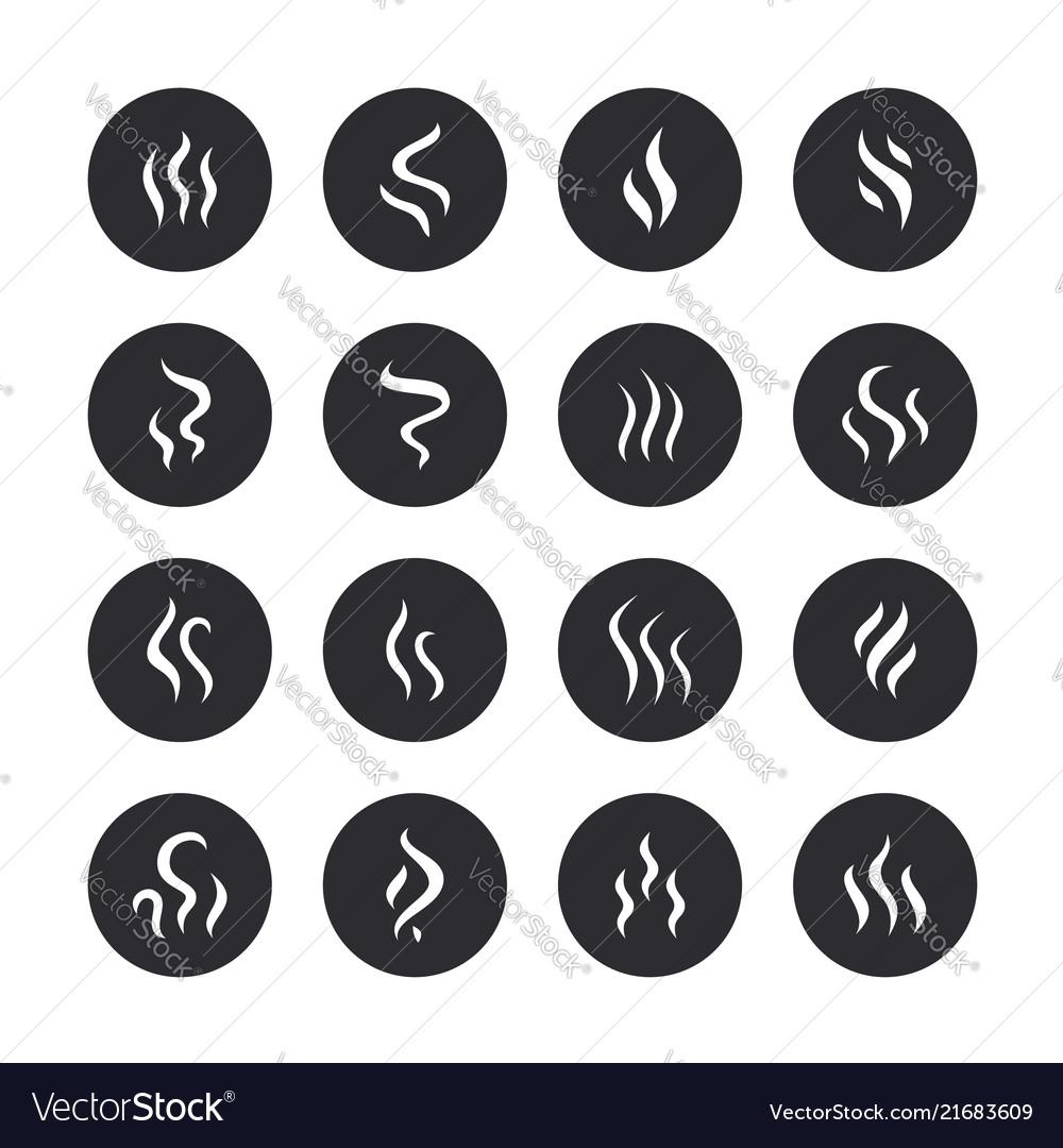 Smoke steam flat line icons fumes shapes aroma