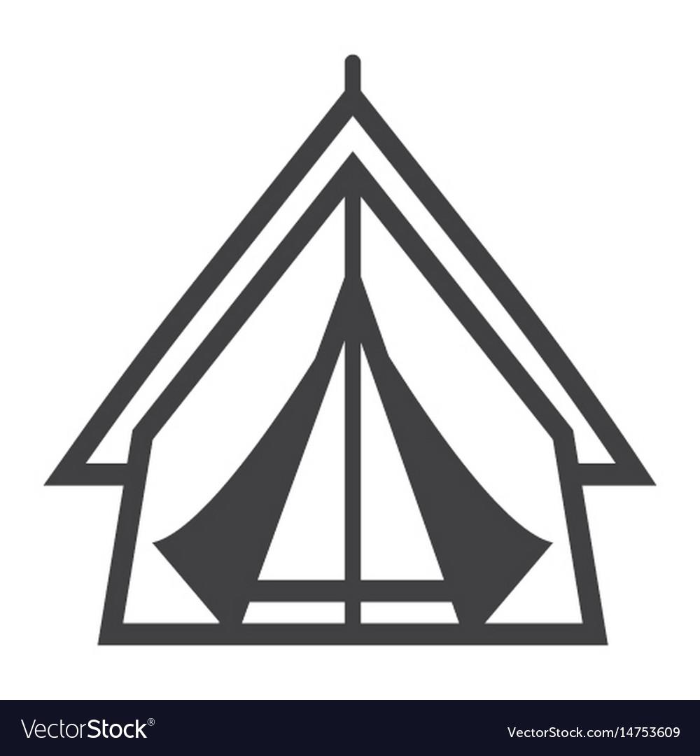 Tourist tent line icon travel and tourism
